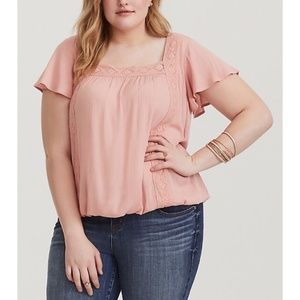orrid Womens Pink Lace and Gauze Top Blouse Blush